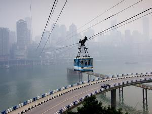 Cityscape With Cable Car, Chongqing City, Chongqing, China, Asia by Charles Bowman