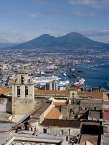 Cityscape With Certosa Di San Martino and Mount Vesuvius , Naples, Campania, Italy, Europe by Charles Bowman