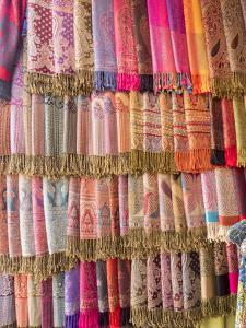 Fabric for Sale, Jemaa El-Fna. Marrakech, Morocco, North Africa, Africa by Charles Bowman