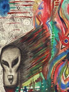 Ferocious Skull Like Head Screams by Charles Bowman