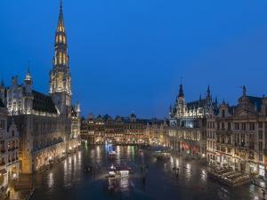 Grand Place Dusk, UNESCO World Heritage Site, Brussels, Belgium, Europe by Charles Bowman