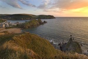 Hope Cove Devon coast at sunset by Charles Bowman