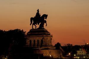 Kaiser Wilhelm I Statue at Sunset on Deutsches Eck, Koblenz, Rhineland-Palatinate, Germany, Europe by Charles Bowman