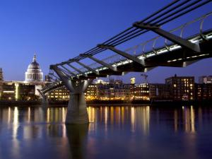 Millennium Bridge and St. Pauls Cathedral, London, England, UK by Charles Bowman