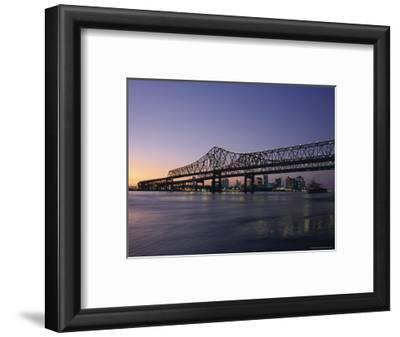Mississippi River Bridge in the Evening and City Beyond, New Orleans, Louisiana