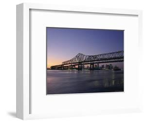 Mississippi River Bridge in the Evening and City Beyond, New Orleans, Louisiana by Charles Bowman