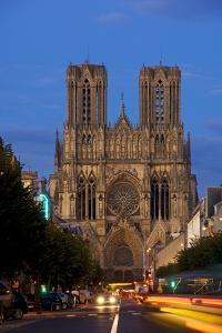 Reims Cathedral at dusk in Champagne France by Charles Bowman
