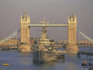 River Thames, Tower Bridge and Hms Belfast, London by Charles Bowman