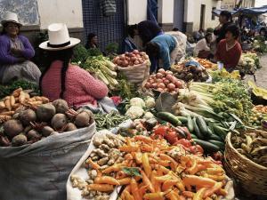 Street Market, Cuzco, Peru, South America by Charles Bowman