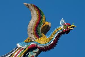 Taipei Colourful Bird Icon On Temple Longshan by Charles Bowman