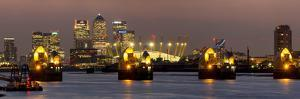 Thames Flood Barrier with Docklands and Canary Wharf Panorama from Woolwich by Charles Bowman