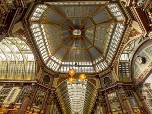 UK London Leadenhal market interior elaborate roof by Charles Bowman