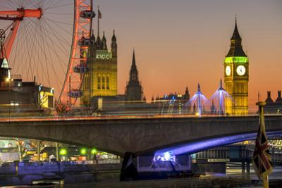 Waterloo Bridge and Big Ben, London, England, United Kingdom, Europe by Charles Bowman