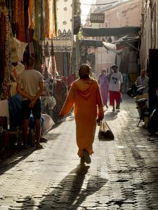 Woman in Pink, Medina Souk, Marrakech, Morocco, North Africa, Africa by Charles Bowman
