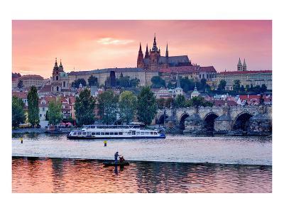Charles Bridge across Vltava River with Hradcany Quarter and St. Vitus Cathedral in Prague--Art Print