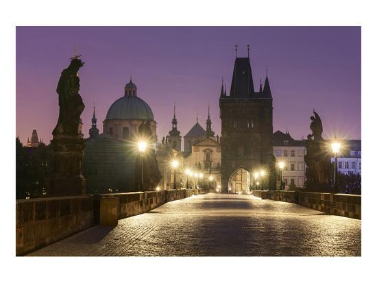 Charles Bridge and Old Town Bridge Tower in Prague, Central Bohemia, Czech Republic--Art Print