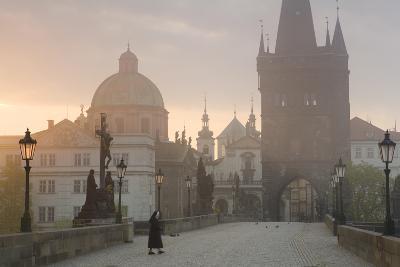 Charles Bridge at Dawn, Prague, Czech Republic-Peter Adams-Photographic Print