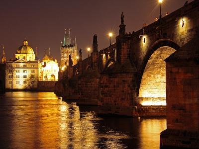 Charles Bridge over the River Vltava at Night, UNESCO World Heritage Site, Prague, Czech Republic, -Hans Peter Merten-Photographic Print
