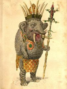 African Elephant 1873 'Missing Links' Parade Costume Design by Charles Briton