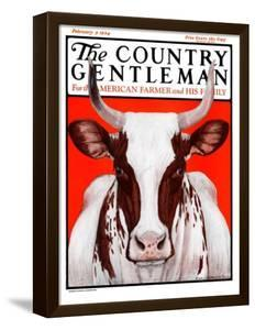 """""""Texas Longhorn,"""" Country Gentleman Cover, February 9, 1924 by Charles Bull"""