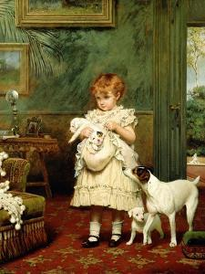 Girl with Dogs, 1893 by Charles Burton Barber