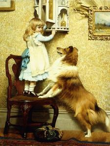 Little Girl and Her Sheltie, 1892 by Charles Burton Barber