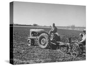 Charles C. Todd and Boyd Green Using the Tractor on the Country Farm
