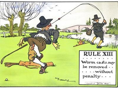 """Rule XIII: Worm Casts May be Removed...Without Penalty..., from """"Rules of Golf,"""" Published c. 1905"""