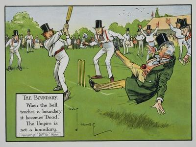 The Boundary, Illustration from Laws of Cricket, Published 1910