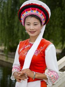 Bai Minority Woman in Traditional Ethnic Costume, China by Charles Crust