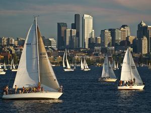 Sailboats Race on Lake Union under City Skyline, Seattle, Washington, Usa by Charles Crust