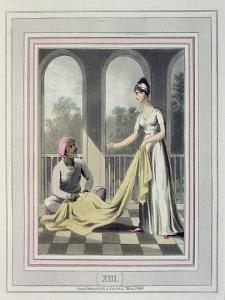 A European Lady Giving Instructions to Her Durzee, or Native Tailor by Charles D'oyly