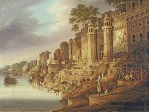 Bathing Scene at a Ghat on the River Ganges by Charles D'oyly