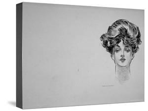 """Portrait of """"Gibson Girl,"""" from Drawings Including Weaker Sex: the Story of a Susceptible Bachelor by Charles Dana Gibson"""
