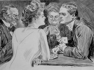 Young Man Has Trouble Concentrating on Bridge Game Because His Attention is on a Young Woman by Charles Dana Gibson