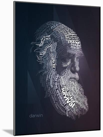 Charles Darwin Typography Quotes-Lynx Art Collection-Mounted Art Print