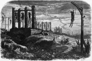 Gibet de Montfaucon - Notre-Dame de Paris, édition Perrotin, 1844, page 482 by Charles Daubigny