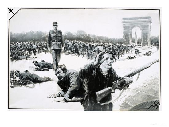Charles de Gaulle Takes His Victory Walk Down the Champs Elysses During the Liberation of Paris-Graham Coton-Giclee Print