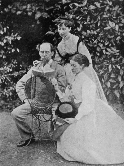 Charles Dickens English Writer at His Home at Gadshill in Kent with His Daughters Kate and Mary--Photographic Print
