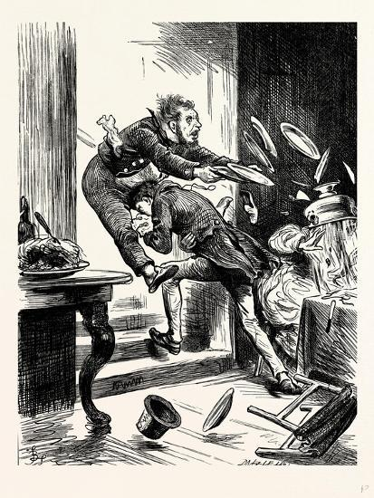 Charles Dickens Sketches by Boz One Gentleman Was Observed Suddenly to Rush from the Table-George Cruikshank-Giclee Print