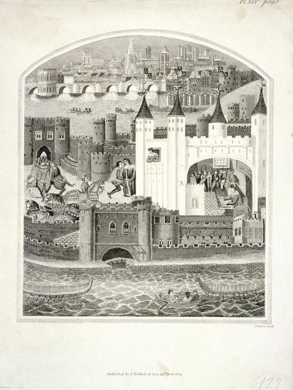 Charles Duc D'Orleans Imprisoned in the Tower of London with London Bridge in the Background, 1803-James Basire II-Giclee Print