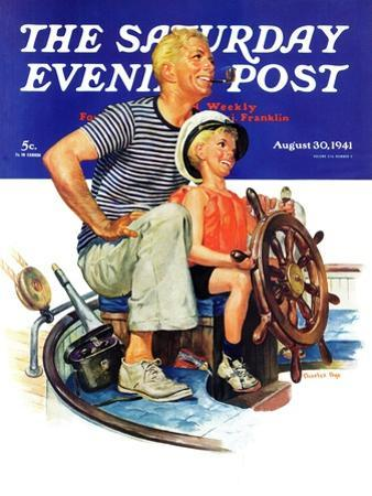 """""""Father Teaching Son to Sail,"""" Saturday Evening Post Cover, August 30, 1941"""