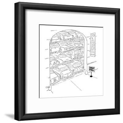 """Parking garage has sign """"Sorry Full"""" and the cars are stacked on top of ea… - New Yorker Cartoon"""