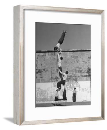 Prisoners Doing Gymnastics at San Quentin Prison