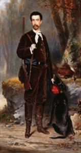 A Huntsman with a Dog by Charles Edouard Boutibonne