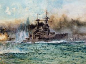 H.M.S Vanguard at the Battle of Jutland, 1924 by Charles Edward Dixon
