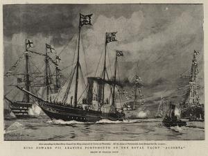 King Edward VII Leaving Portsmouth on the Royal Yacht Alberta by Charles Edward Dixon