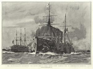 Mr Chamberlain's Departure for South Africa, H M S Good Hope Passing Out of Portsmouth Harbour by Charles Edward Dixon