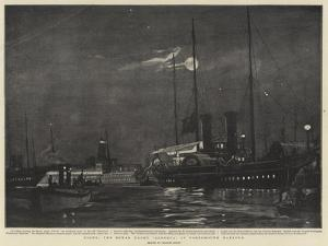 Night, the Royal Yacht Alberta in Portsmouth Harbour by Charles Edward Dixon