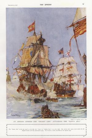 Scene from the Spanish Armada, 1588